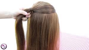 آموزش شینیون  مو همراه با بافت برای موهای بلند