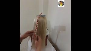 آموزش بافت مو با روبان و مهره