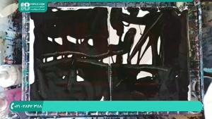 نقاشی رزین اپوکسی در پس زمینه مشکی