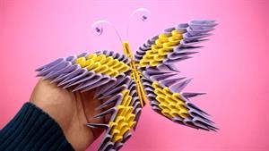 آموزش اوریگامی ساخت پروانه سه بعدی