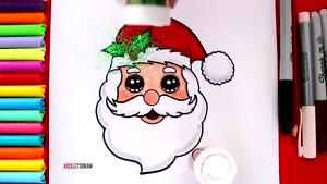 آموزش نقاشی کودکانه بابا نوئل و کریسمس