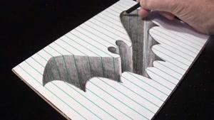 آموزش نقاشی سه بعدی خفاش با مداد