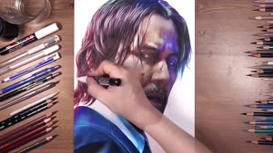 آموزش طراحی چهره شخصیت جان ویک با مداد رنگی