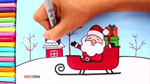 آموزش نقاشی کودکانه سورتمه کریسمس