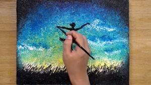 آموزش نقاشی رقص با ستارگان با تکنیک آلومینیوم