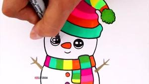آموزش نقاشی کودکانه آدم برفی کریسمس