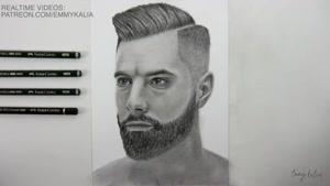 آموزش طراحی چهره مرد با ریش با سیاه قلم