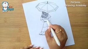 آموزش طراحی دختر با چتر با مداد