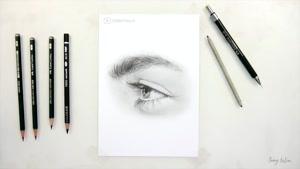 آموزش طراحی چشم از نیمرخ با مداد