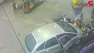 تصادف وحشتناک در پمپ بنزین