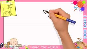 آموزش نقاشی به کودکان _ نقاشی گوزن