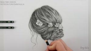 آموزش طراحی موی زیبا با مداد سیاه