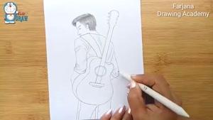 آموزش طراحی پسر با گیتار با مداد