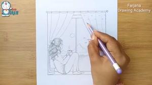 آموزش نقاشی دختر کنار پنجره با مداد