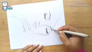 آموزش طراحی چهره دختر با مداد