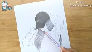 آموزش طراحی دختر با کلاه با مداد
