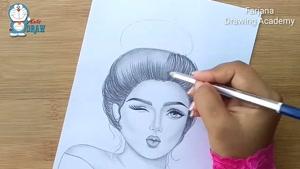 آموزش طراحی دختر زیبا با مداد