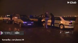 باز هم تصادف زنجیره ای در یک شب بارانی در اتوبان قزوین