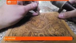 آموزش حکاکی گل بر روی چرم به صورت قاب