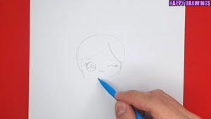 آموزش نقاشی فانتزی و بامزه دختر کوچولوی خوشحال