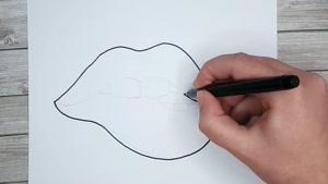 آموزش نقاشی فانتزی و بامزه لب قرمز