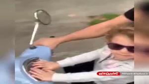 موتورسواری سام درخشانی با دخترش
