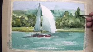 آموزش گام به گام و آسان نقاشی با آبرنگ قایق در دریاچه