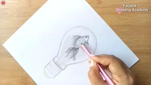 آموزش گام به گام طراحی با مداد ماهی در لامپ