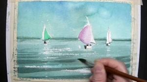 آموزش نقاشی با آبرنگ - سه قایق زیبا