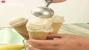 طرز تهیه بستنی قیفی خانگی با موز یخ زده