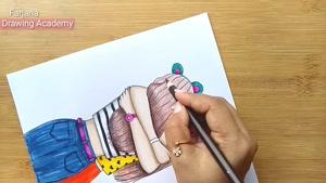 آموزش گام به گام نقاشی با مداد بهترین دوستان
