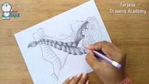 آموزش طراحی گیسوان زیبا با مداد