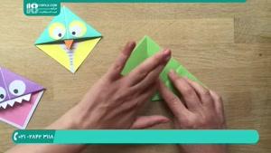 آموزش اوریگامی بوکمارک جغد هیولا