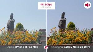 مقایسه فیلمبرداری گلکسی نوت ۲۰ اولترا با اپل آیفون 11 پرومکس