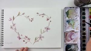 نقاشی یک تاج گل با آبرنگ برای روز ولنتاین