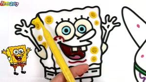 کلیپ اموزش نقاشی برای کودکان - نقاشی باب اسفنجی