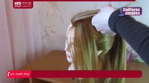آموزش شینیون مو با بافت جمع شده در انتهای سر