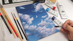 آموزش نقاشی آسمان شب با اکرلیک