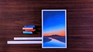 طراحی غروب آفتاب با پاستل نرم