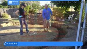 آموزش زیر سازی برای نصب آبنما سنگی در پارک