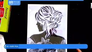 آموزش کشیدن طرح چهره یک خانم بر روی شیشه