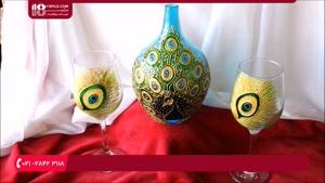 آموزش نقاشی روی لیوان پایه دار و گلدان شیشه ای