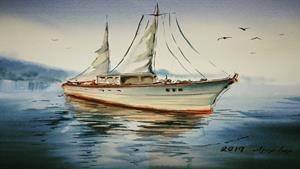 کلیپ آموزش ترسیم قایق و دریا با آبرنگ