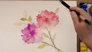 کلیپ طراحی گل با آبرنگ
