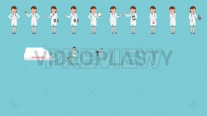 مجموعه کاراکتر پرستار و پزشک موشن گرافیک Medical Characters