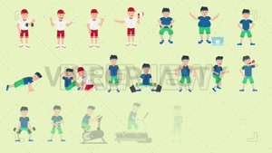 مجموعه کاراکتر ورزشکار ساخت موشن گرافیک
