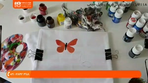 آموزش نقاشی روی پارچه - طرح پروانه و ببر روی تیشرت