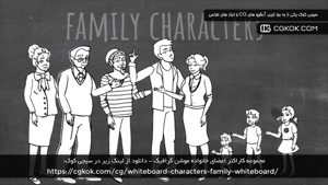 مجموعه کاراکتر اعضای خانواده موشن گرافیک