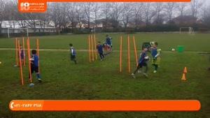 آموزش فوتبال به کودکان - هماهنگی بدن و عبور از بین موانع