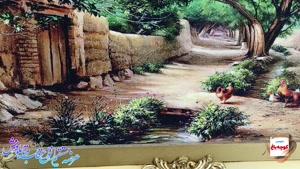 تابلو فرش کوچه باغ مرغ و خروس - دیجی دکوری